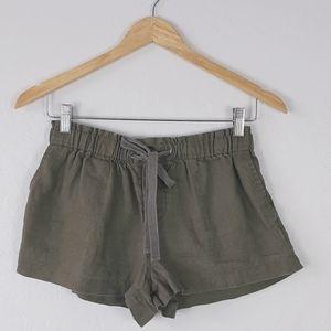 FOREVER 21 Olive Pull-On Linen Drawstring Shorts S